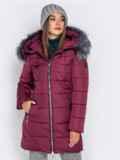 Зимняя куртка бордового цвета с капюшоном 40634, фото 2