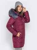 Зимняя куртка бордового цвета с капюшоном 40634, фото 3