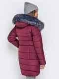 Зимняя куртка бордового цвета с капюшоном 40634, фото 4