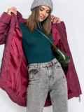 Зимняя куртка бордового цвета с капюшоном 40634, фото 5