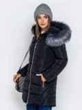 Зимняя куртка чёрного цвета с капюшоном 40633, фото 2