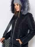 Зимняя куртка чёрного цвета с капюшоном 40633, фото 5