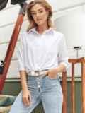 Белая блузка с нагрудным карманом 54638, фото 2