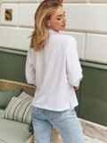Белая блузка с нагрудным карманом 54638, фото 3