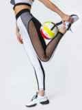 Белые лосины для фитнеса со вставками из сетки 44716, фото 2