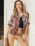 Коричневая блузка с принтом и коротким рукавом 54636, фото 2
