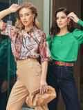 Коричневая блузка с принтом и коротким рукавом 54636, фото 3