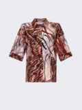 Коричневая блузка с принтом и коротким рукавом 54636, фото 6