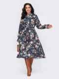 Платье-рубашка большого размера с принтом темно-синее 52081, фото 2