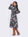 Платье-рубашка большого размера с принтом темно-синее 52081, фото 3