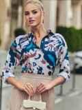 Розовая блузка с принтом на пуговицах 54635, фото 4