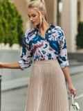 Розовая блузка с принтом на пуговицах 54635, фото 5