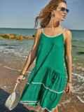 Сарафан зеленого цвета с двухъярусной юбкой 48153, фото 2