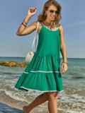 Сарафан зеленого цвета с двухъярусной юбкой 48153, фото 4
