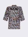 Серая блузка из штапеля с принтом и коротким рукавом 54637, фото 5