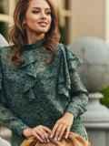 Шифоновая блузка с принтом и оборками зеленая 54632, фото 3