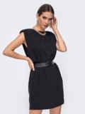 Короткое платье черного цвета с подплечниками 52381, фото 2
