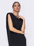 Короткое платье черного цвета с подплечниками 52381, фото 5