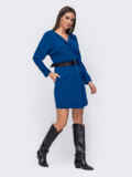 Короткое платье синего цвета с цельнокроеным рукавом 52377, фото 2