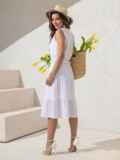 Платье из белой прошвы с многоярусной юбкой 49370, фото 4