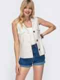 Льняная блузка с накладными карманами бежевая 49108, фото 2