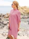 Розовое льняное платье-рубашка прямого кроя с пуговицами 49689, фото 2