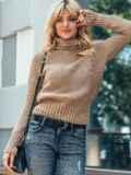 Бежевый укороченный вязаный свитер с высоким воротником 50393, фото 2