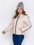 Демисезонная куртка с воротником на кнопке бежевая 40224, фото 3