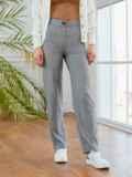 Серые брюки в полоску с завышенной талией 53549, фото 2