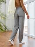Серые брюки в полоску с завышенной талией 53549, фото 3