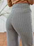 Серые брюки в полоску с завышенной талией 53549, фото 4