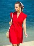 Красное платье с V-вырезом и накладным карманом 38883, фото 2