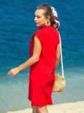 Красное платье с V-вырезом и накладным карманом 38883, фото 3