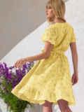 Желтое платье из прошвы с резинкой по талии 53902, фото 2