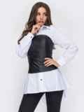 Белая рубашка с черным корсетом из экокожи 53556, фото 2