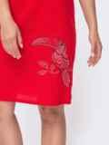 Льняное платье красного цвета с вышивкой 48158, фото 3