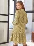 Платье с цветочным принтом и воланом по низу оливковое 55040, фото 3