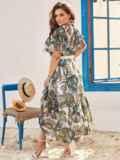 Шифоновое платье батал с принтом и резинкой по талии зеленое 54457, фото 3