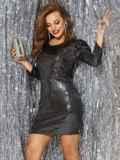 Платье-миди из трикотажа с пайетками чёрного цвета 42783, фото 2