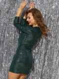Платье-миди из трикотажа с пайетками зелёного цвета 42781, фото 3