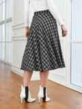 Черная юбка А-силуэта в клетку с карманами 53553, фото 2