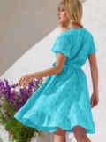 Голубое платье из прошвы с резинкой по талии 53900, фото 2