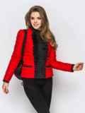 Красная куртка с контрастной рюшей на полочке 12939, фото 2