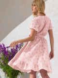 Розовое платье из прошвы с резинкой по талии 53901, фото 2