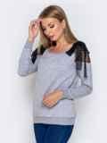 Серый свитшот с фатиновыми вставками на плечах 40879, фото 2
