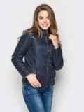 Тёмно-синяя куртка с воротником на кнопке 12935, фото 2