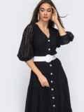 Расклешенное платье черного цвета из прошвы  48282, фото 5