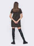 Короткое платье прямого кроя в клетку черное 52388, фото 3
