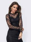 Обтягивающее платье-миди из кружева чёрного цвета 52389, фото 5