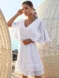 Расклешенное платье из хлопка с объемными рукавами белое 54131, фото 3